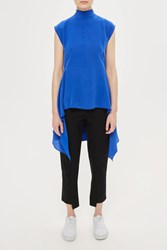 Topshop Dropped Back Silk Tunic By Boutique Cobalt