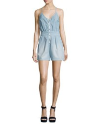 7 For All Mankind Sleeveless Zip Front Romper Stretch Chambray