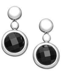 Macy's Sterling Silver Earrings Onyx Drop Earrings 15 16Mm