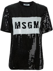 Msgm Sequined T Shirt Black