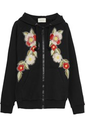 Gucci Embroidered Printed Cotton Jersey Hooded Top Black
