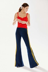 Urban Outfitters Uo Matilda Side Stripe Flare Pant Navy