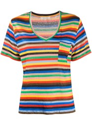 Chinti And Parker Striped Print T Shirt Blue