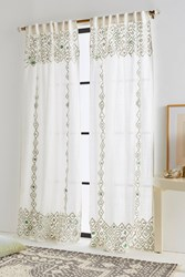 Anthropologie Beaded Pippette Curtain Mint