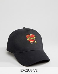 Reclaimed Vintage Inspired X Romeo And Juliet Baseball Cap With Heart Quote Embroidery Black