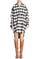 Vetements Plaid Oversize Wool Blend Shirt Black White