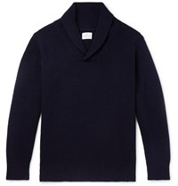 Kingsman Shawl Collar Wool And Cashmere Blend Sweater Blue