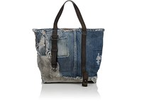 Barneys New York Small Denim And Canvas Tote Bag Blue