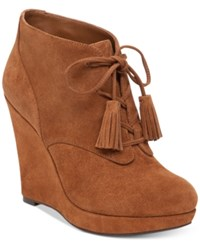 Jessica Simpson Cyntia Lace Up Wedge Booties Women's Shoes Canela Brown