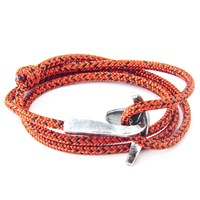 Anchor And Crew Bruce Rope And Silver Bracelet Red Noir