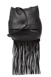Hobo Billow Fringe Billow Leather Crossbody Bag Black