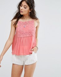 Kiss The Sky Cami Top With Lace Panel Pink