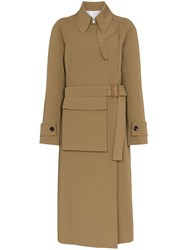 Joseph Stafford Belted Cotton Trench Coat Brown