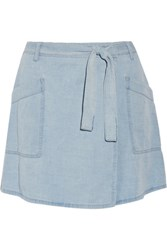 Maison Martin Margiela Mm6 Denim Wrap Mini Skirt Light Denim