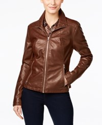 Kenneth Cole Faux Leather Moto Jacket Whiskey