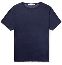 Isabel Benenato Knitted Linen T Shirt Midnight Blue