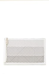 Carlos By Carlos Santana Mila Large Perforated Clutch White