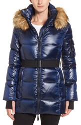 S13 Nyc Women's 'Nicky' Quilted Coat With Removable Faux Fur Trimmed Hood Midnight
