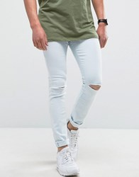 Hoxton Denim Super Skinny Light Wash Jeans With Knee Rip Blue