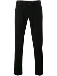 Dolce And Gabbana Slim Fit Trousers Men Cotton Calf Leather 48 Black