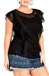 City Chic Plus Size Dreamy Lace Top Black