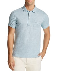 Billy Reid Patterson Stripe Slim Fit Polo Shirt Ice Blue