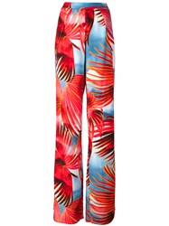Just Cavalli Tropical Print Palazzo Pants Red