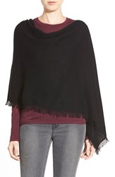 Women's In Cashmere Convertible Fringe Cashmere Poncho Black
