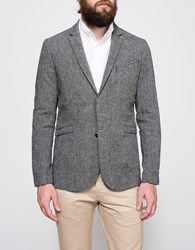 Wings Horns Linen Utility Blazer Charcoal