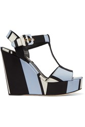 Dolce And Gabbana Striped Canvas Wedge Sandals Light Blue