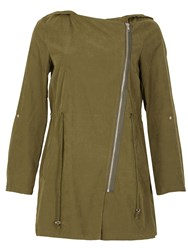 Izabel London Elegant Hooded Lightweight Parka Green