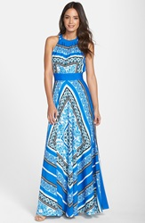 Eliza J Scarf Print Halter Crepe De Chine Maxi Dress Regular And Petite Blue