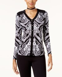 Inc International Concepts Petite Paisley Button Trim Top Created For Macy's Prancing Psly
