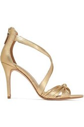 Sandro Woman Elisa Metallic Knotted Leather Sandals Gold