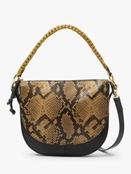And Or Carmen Leather Saddle Cross Body Bag Snake Effect