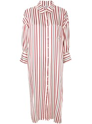 Anine Bing Striped Milly Shirt Dress Red