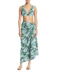 Red Carter Palm Party Printed Wrap Sarong Coverup White