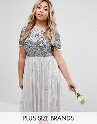 Lovedrobe Luxe Cap Sleeve Floral Embellished Dress With Tulle Midi Skirt Grey