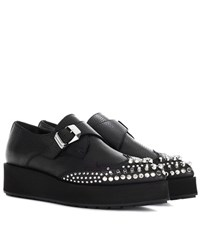Mcq By Alexander Mcqueen Black Manor Creeper Monkstraps Leather Shoes