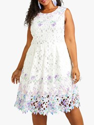 Yumi Flower Mirror Cut Out Lace Dress White