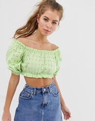 Pull And Bear Pullandbear Broderie Short Sleeved Top In Green