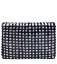 Shrimps Macbeth Checked Faux Fur Clutch Blue