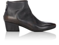 Marsell Women's Leather Back Zip Ankle Boots Black