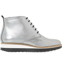 Dune Padmore Metallic Leather Ankle Boots Silver Leather