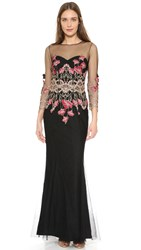 Marchesa 3 4 Sleeve Tulle Gown Black