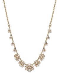 Kate Spade New York Gold Tone Imitation Pearl And Crystal Flower Collar Necklace
