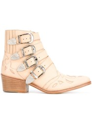 Toga Buckled Cowboy Boots Nude Neutrals
