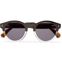 Illesteva Leonard Round Frame Two Tone Acetate Sunglasses Brown