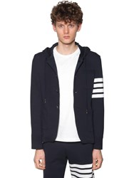 Thom Browne Hooded Cotton Jacket W 4 Bar Detail Navy