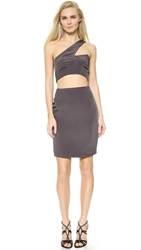 Olcay Gulsen One Shoulder Cutout Dress Grey
